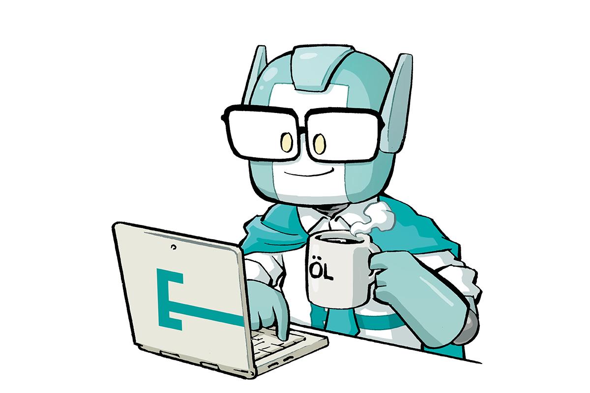 Commander am Laptop auf Jobsuche